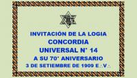 DOCUMENTO HISTÓRICO – 3 DE SETIEMBRE DE 1909 E:.V:. – R:.L:.S:. CONCORDIA UNIVERSAL N° 14 – INVITACIÓN A SU 70° ANIVERSARIO