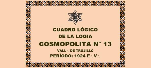 DOCUMENTO HISTÓRICO – 13 DE DICIEMBRE 1923 E:.V:. – R:.L:.S:. COSMOPOLITA N° 13 DE TRUJILLO – CUADRO LÓGICO – PERÍODO: 1924 E:.V:.