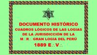DOCUMENTO HISTÓRICO – CUADROS LÓGICOS DE LAS LOGIAS DE LA JURISDICCIÓN DE LA M:.R:. GRAN LOGIA DEL PERÚ – PERÍODO: 1889 E:.V:.